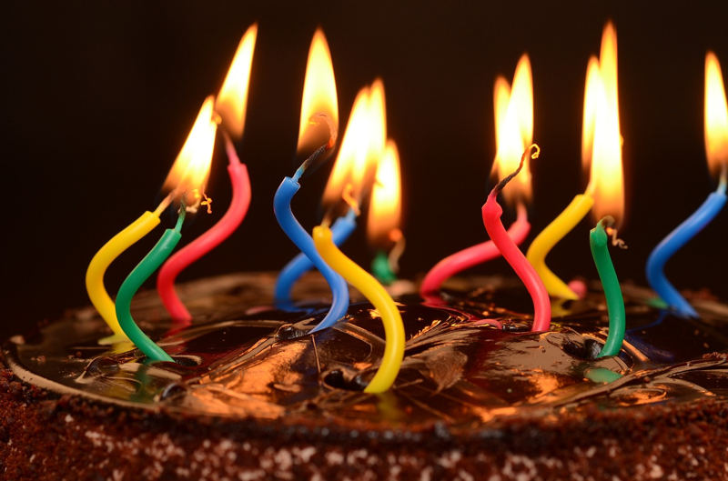 birthday cake with candles on it